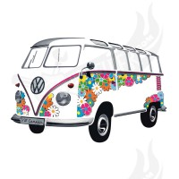 "Wandtattoo "" VW Bus Samba"" Flowers"